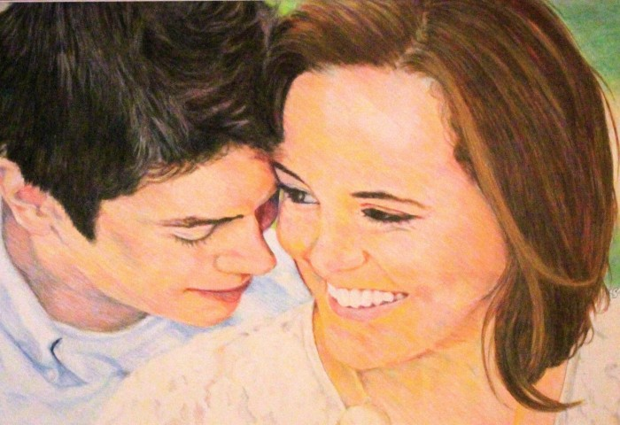 prismacolor pencils portrait of a young white couple, close-up on their faces and smiles