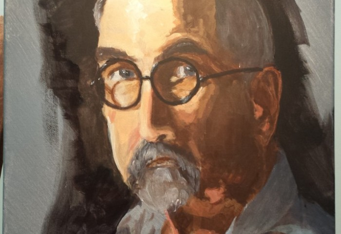 acrylic portrait shoulders up of a man with a short beard and glasses