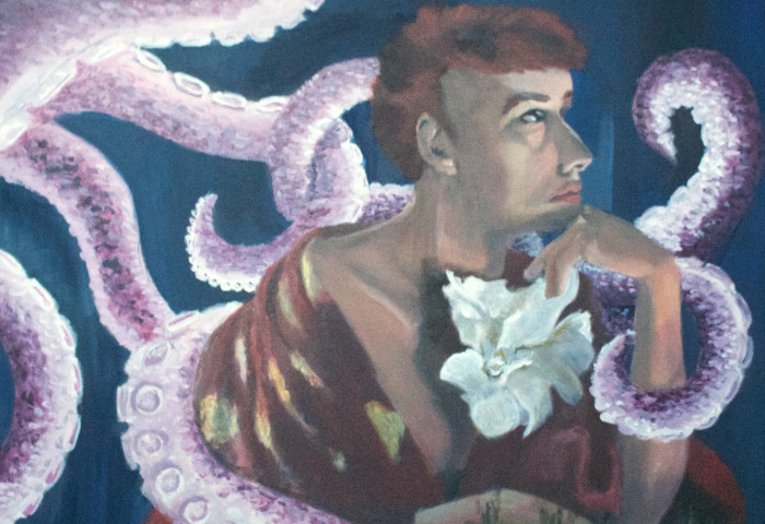 acrylic painting of a young white woman in a thinking pose, with purple octopus tentacles encircling her