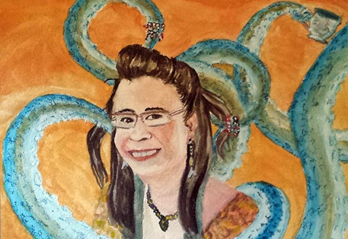 watercolor painting of a young smiling woman looking at the viewer, while turquoise octopus tentacles bearing bracelets and a teacup embrace her