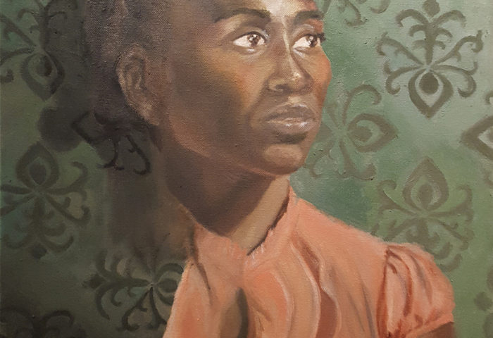 oil painting of a young black woman with her natural hair braided near her head, wearing a coral blouse with a ruffled collar,  standing against a green wall with tentacle-esque designs in the wallpaper, where her right shoulder looks like it is emerging from the wall.